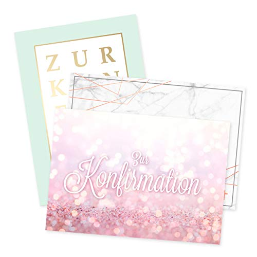3er Set Konfirmationskarten edel, als Glückwunschkarten, Einladung oder Danksagung zur Konfirmation, Konfirmation Geschenke, für Jungen oder Mädchen