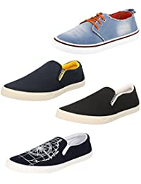 Chevit Men's Combo Pack Of 4 Smart Casual Shoes And Sneakers (Loafers And Mocassins)