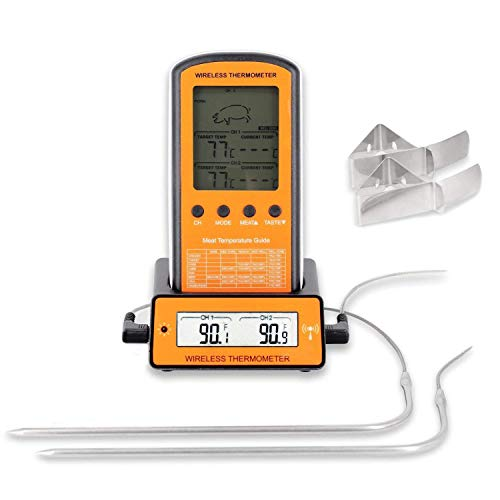 Grillthermometer Funk, Digital Grillthermometer, Einkochthermometer, Fleischthermometer, Kochthermometer, Ofenthermometer , Küchenthermometer, Fleisch-Thermometer mit Alarm, Dual-Edelstahl-Sonden, °C und °F einstellbar, großer LCD-Anzeige