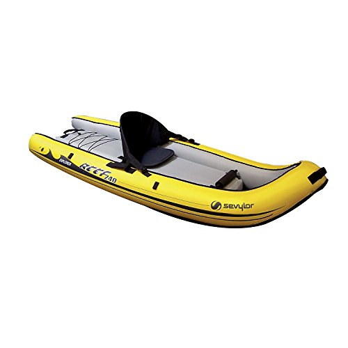 Sevylor Reef 240 Kayak hinchable, kayak de mar 1 persona, piragua hinchable, canoa inflable, amarillo negro, 236 x 86 cm