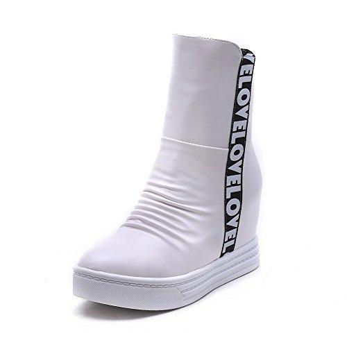Odomolor Damen Hoher Absatz Gemischte Farbe Weiches Material Reißverschluss Stiefel Weiß