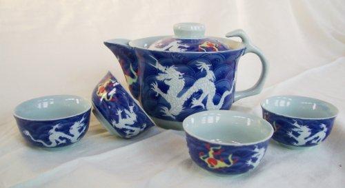AAF Nommel ® Kleines asiatisches Teeset 025 Teeservice aus Keramik 5tlg. Teekanne mit Tassen zur Tee-Zeremonie