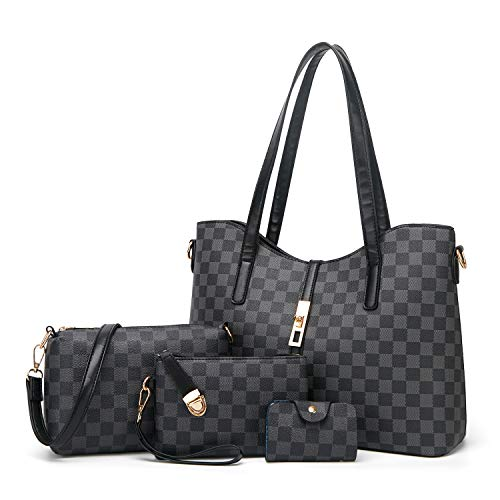 ELIMPAUL Damen Handtasche Groß Shopper Handtasche Elegant Damen Tasche Schultertasche Tragetasche set für Büro Schule Einkauf 4pcs