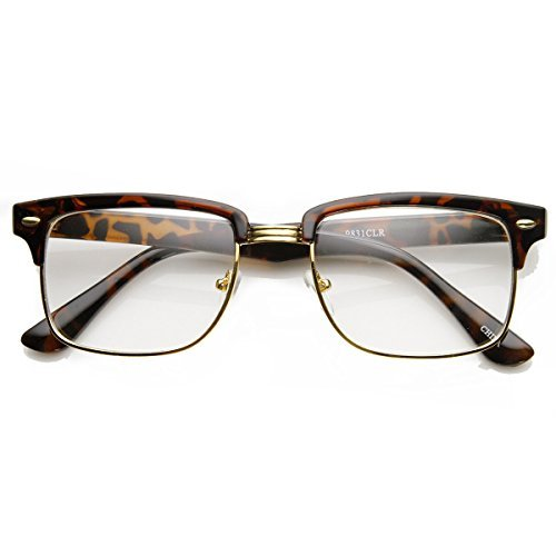 zeroUV - Modified Classic Square Half Frame Clear Lens Horn Rimmed Sunglasses (Tortoise-Gold)