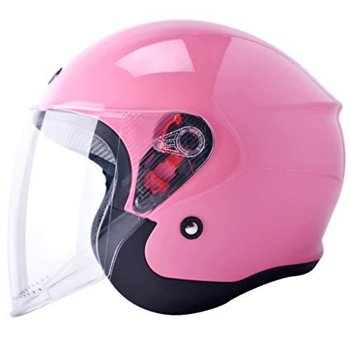 Casco moto elettrica femminile maschio estate quattro stagioni mezza-imballata personalità batteria auto anti-nebbia casco (Color : E-23X35CM)