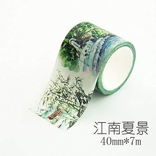 YTAPE Original Hand Konten und Papierband 3 Bände, eine Reihe von Handgemalten Frische Antiken Gebäuden, Farbe Hand Diy Dekorative Aufkleber, Jiangnan Frühling Landschaft (40 Mm)