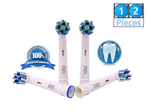 Flm vitality white and clean eb50a - testine di ricambio per spazzolino elettrico compatibili con braun oral b, 12 ricambi