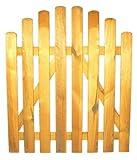 StaketenTür 'Standard' 100x100/120 cm - oben - kdi / V2A Edelstahl Schrauben verschraubt - aus frischem Holz gehobelt - oben gebogene Ausführung - kesseldruckimprägniert