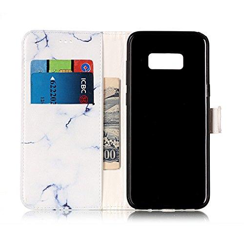 Galaxy S8 Coque Mode,Coque Cuir Etui Pour Samsung Galaxy S8,Ekakashop Bookstyle Flip Cover Clapet Rabat Shell Couvercle Magnétique Portefeuille Housse Protectrice Wallet Case Etui avec Motifs de Petit Marbre Blanc