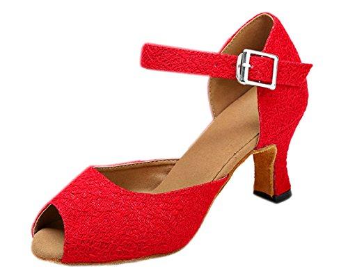 Honeystore Neuheiten Frauen Kunstleder Heels Moderne Einfarbig Tanzschuhe mit Spitze Rot 41 CN