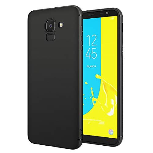 EIISSION Case Kompatibel mit Samsung Galaxy J6 2018 TPU Hülle, Schutzhülle aus elastischem TPU-Material Matter Ultra Dünn Silikon Schutzhülle Case für Samsung Galaxy J6 2018 (Schwarz)