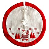 Ruby Stores - 90cm Red Christmas Tree Skirt Santa Claus Snowflake Patterns Xmas Tree Cover Base Aprons Festive New Year Party Supplies DecorChristmas Tree Skirts