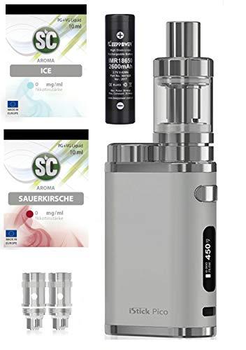 E-Zigarette SC produced by Eleaf Pico iStick 75W   Einsteiger Starterset 2600mAh   TC (Temperaturregelung) mit Integriertem Akku   mit SC Liquids - 00mg Rauchen ohne Nikotin