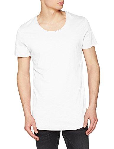 JACK & JONES Jjebas tee SS U-Neck Noos, Camiseta para Hombre, Blanco (Cloud Dancer Detail: Reg Fit), Small