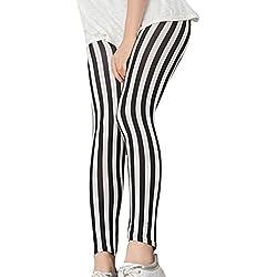 LaoZan mujeres Impresos Pantalones Estiramiento Delgado Pantalones De Las Polainas Raya Gruesa