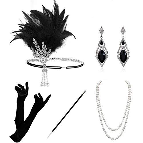 KQueenStar 1920er Jahre Zubehör Set Flapper Kostüm Accessoires für Damen 20s Gatsby Jahre Stirnband Kopfschmuck Perlen Halskette Handschuhe Zigarettenspitze (Black6) (Silber Set - Silber Kostüm Handschuhe