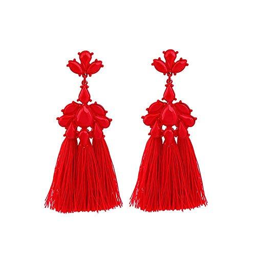 Katylen Earring Modeschmuck Persönlichkeit rote Blume Brautkleid - Quaste Mädchen Ohrringe
