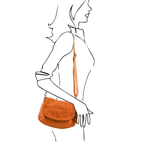 Tuscany Leather TL Bag Umhängetasche aus weichem Leder mit Quasten Schwarz Cognac