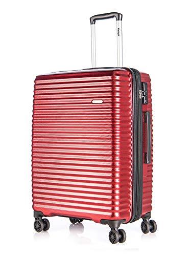 Verage Vortex Trolley Hartschale-Koffer in Rot L-28 erweiterbar, geruchsneutraler Reisekoffer mit TSA Schloss, 4x360°-Zwillingsrollen, umweltfreundliches Material S-PET
