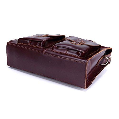 Huile Cire couche de cuir en cuir véritable Messenger Porte-documents pour ordinateur portable de Hommes Sac Voyage d'affaires Fit 14 pouces pour ordinateur portable Rouge