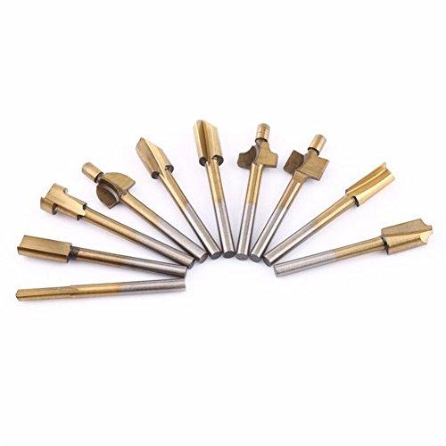 10er-Set 3 mm HSS Titan Fräser-Bit-Set, Holz Cutter Dremel Werkzeug Bit Slot Drill Bohren Fräser für Holz (Slot Cutter)