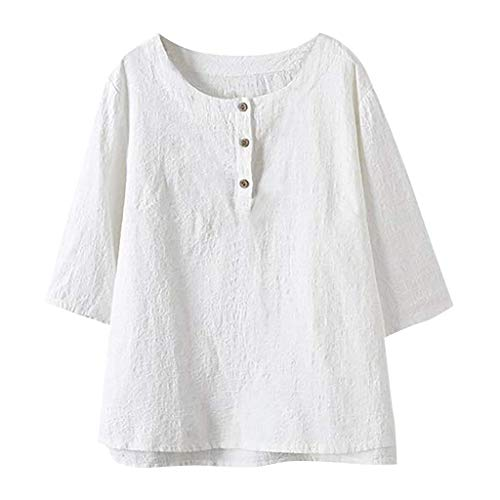 CAOQAO Damen Sexy Einfarbig Elegantes Shirt High-Low-Tuniken Einfarbig Bluse Lose Baumwoll-Leinenhemd Tops Lose Mode BeiläUfig Atmungsaktives ()