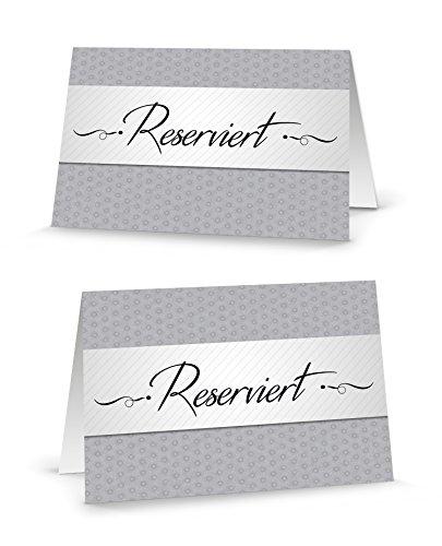 Karten Tisch Dem Auf Die (100 Stück edle grau weiß-schwarze RESERVIERT-SCHILDER Tisch-Austeller Klapp-Karten kleine Kärtchen für die TISCH-Reservierung der Gäste - MIT JEDEM STIFT beschreibbar! Reserviert-Aufsteller)