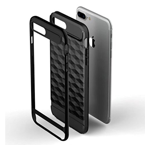 iPhone7/8 Plus Armor Cover, Luxury Diamond Shape Grid Pattern Texture Bumper Frame Ultra Hybrid Thin Custodia, TAITOU New Cool Ultralight Slim Anti-Drop Protect Phone Cover For iPhone 7/8Plus Gold BGray