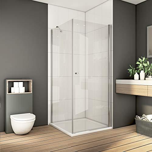 Bath-mann 80 x 80 cm Eckeinstieg Duschkabine Duschabtrennung Pendeltür Duschwand mit Seitenwand   80cm Schwingtür Duschwand Tür + 80cm Seitenwand, Höhe: 185 cm (6mm Sicherheitsglas Nano Glas)