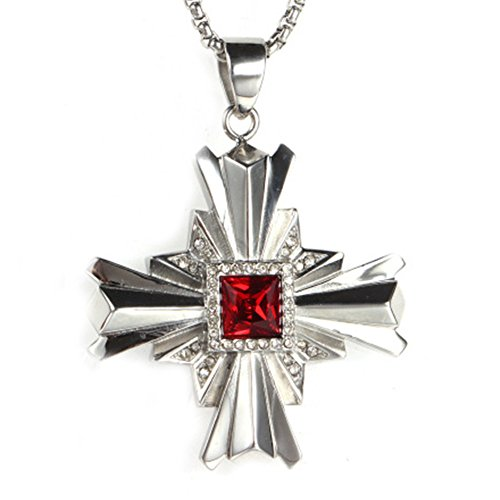 l Hip Hop Diamant Kreuz Halskette Anhänger für Herren,Rot (80's Hip Hop Modeschmuck)