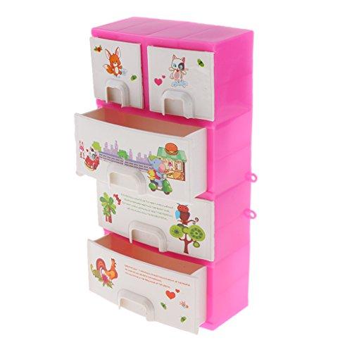 Sharplace Juguetes de Muebles de Armario Rosado en Minituras para Muñecas Barbie