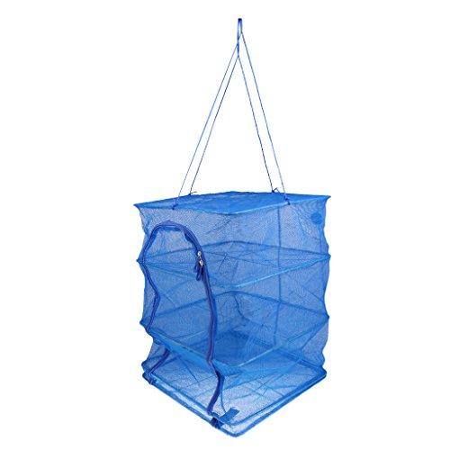 MagiDeal 4-Schichten Trocknung Netz Trockengestelle dauerhaft faltbar Netzbeutel für Gemüse Gerichte Fisch
