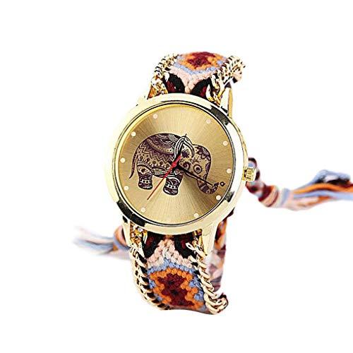 Kakiyi Ethnische Art gesponnene Armband-Frauen-Mädchen-Uhrenarmband-Quarz-runder Elefant Dial Armbanduhr