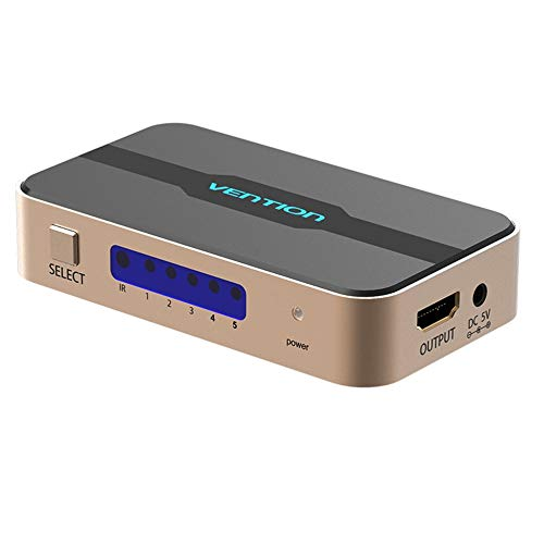 gfjfghfjfh Splitter HDMI 5 Ingresso 1 Uscita Interruttore HDMI 5x1 per Xbox 360 PS4 Smart per Android HDTV 4K Switcher HDMI 5 in 1 out