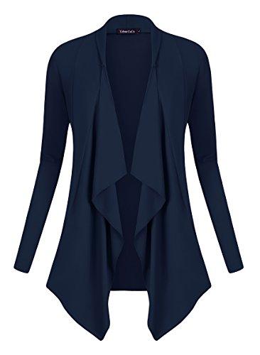 Urban goco donna cardigan drappeggiato aperto davanti a maniche lunghe e orlo irregolare giacca top blu marino xl