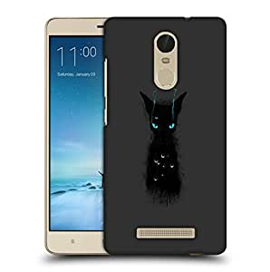 Snoogg Black Cat Designer Protective Back Case Cover For REDMI NOTE 3
