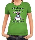 ShirtStreet Gaudi Wiesn Oktoberfest Damen Frauen T-Shirt Rundhals Oktoberfest - MEI Dirndl Drogt Heit MEI Freundin, Größe: XXL,apfelgrün