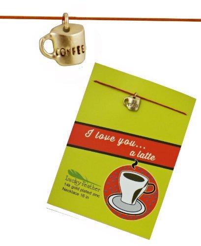 Lucky Feather I Love You a Latte Glücksfeder Vergoldet Kaffeetasse Leinen Schnur Nachricht...