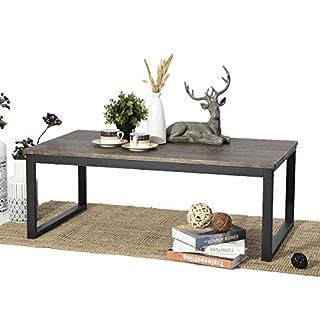 Aingoo Couchtisch Wohnzimmertisch Sofatisch Esstisch Beistelltisch holze Tischplatte Metallgestell Braun 110 x 60 x 45CM
