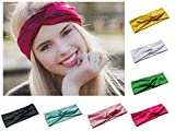 No2(Criss Cross) : Yeshan Women and Girls Stretchable Criss Cross Headband/Head wrap/Bandana/Turban/Sweat Wicking Headwear for Workout Running Yoga and Fitness,Pack of 8