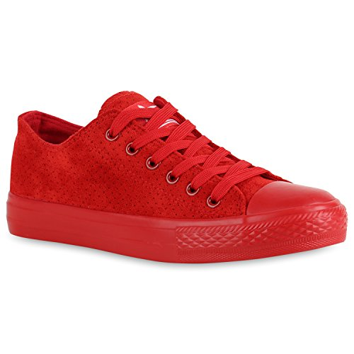 Damen Sneaker Low Basic Schnürschuhe Leder-Optik Schuhe Turnschuhe 154420 Rot Avion 41 Flandell (Casual Schuh Leder Basic)
