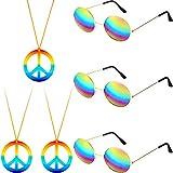6 Piezas El Juego de Accesorios de Disfraces Hippie Incluye Collar con el Signo de Paz y Gafas de Sol Hippies para 60s 70s Artículos para Fiesta