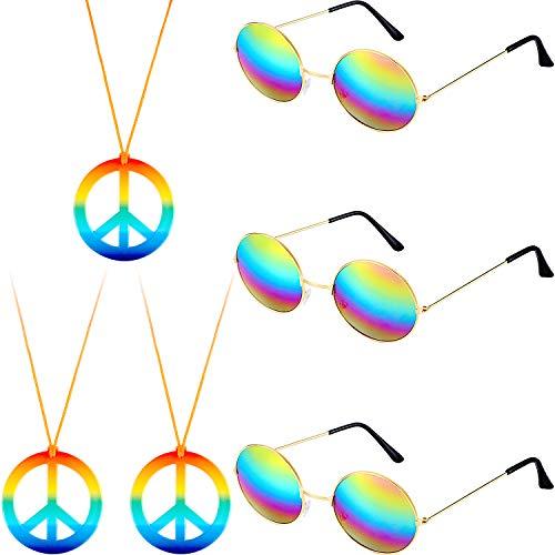 6 Stücke Hippie Kostüm Zubehör Set Beinhaltet Frieden Zeichen Halskette und Hippie Sonnenbrille für 60s 70s Party Lieferungen
