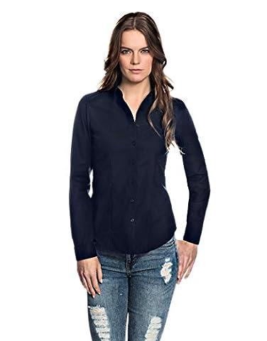 EMBRÆR Women's Blouse Modern Fit Long Sleeve Shirt Non Iron Uni,darkblue,14