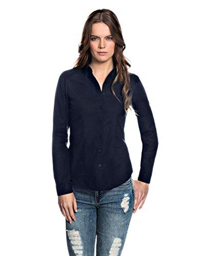 Embraer Damen Bluse tailliert 100% Baumwolle bügelfrei Langarm Hemdbluse elegant festlich Kent-Kragen auch für Business und unter Pullover dunkelblau 40