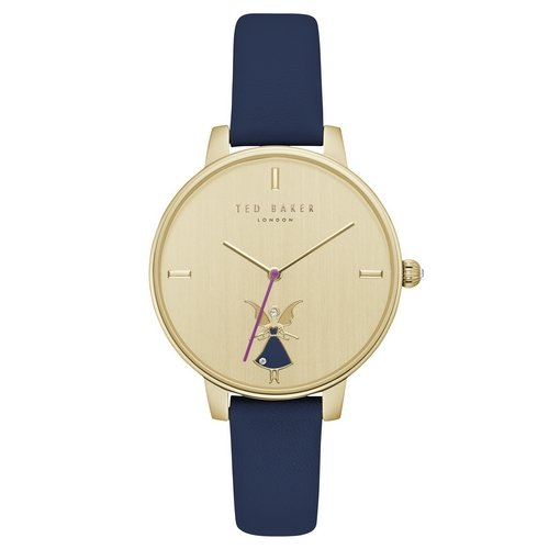 TED BAKER- KATE FAIRY LADIES GOLD PLATED BLACK STRAP WATCH