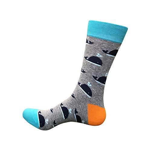 Eanijoy Lustige lässige Baumwollsocken, Crew Socke, Plus Sizes NEW Men's Novelty Funny Socks Colorful Elephant Whale Hipster Art Socks Cotton Bird Printed Long Luxury Socks Whale EUR 42-46