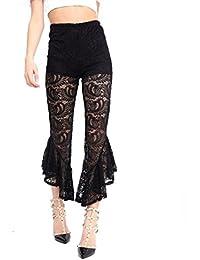 FLIRTY WARDROBE Ladies Asymmetric Floral Flared Bell Bottom Pants Frill Hem Trousers High Waist