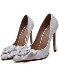 Bomba 11cm Scarpin dedo punta Bowknot zapatos de tacón alto de la boda zapatos de vestir Mujeres Charol patente de cuero puro ol zapatos de corte de la UE Tamaño 34-43 ( Color : White , Size : 38 )