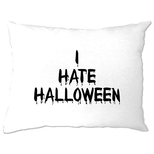 Tim And Ted Anti-Urlaub Kissenbezug Ich Hasse Halloween Slogan White One Size